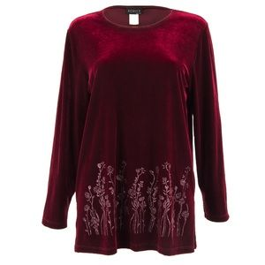 Vintage Velvet Top with Crystal Embroidery